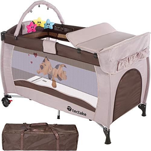 TecTake Culla lettino da viaggio regolabile in altezza bebé box - disponibile in diversi colori - (Cappucino)