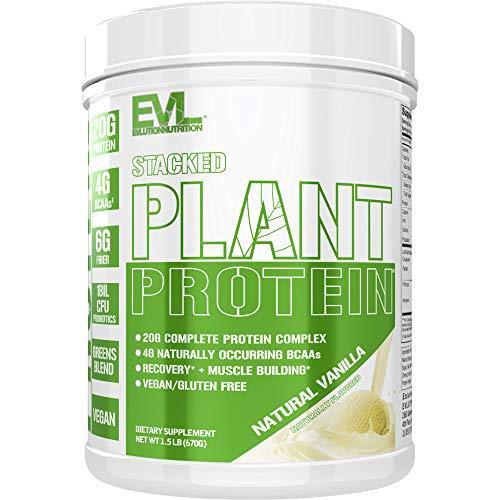 Stacked Plant Proteine in Polvere | Vaniglia Naturale | Vegane, Senza OGM e Glutine | Probiotici, BCAA, Fibre, Amarena | Complesso Proteico Vegetale | Tubetto da 680g