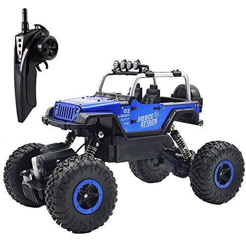 RC Cars Off-Road Vehicles Jeep Trucks 4WD RC Trucks 1:18 Monster Trucks 2.4GHz RC Hobby Cars High Speed Racing Cars with LED Light - Blue