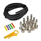 Pyle Pro-Audio Pedal Board Patch Cables-Universal D.I.Y Custom Cut Feet Wire Kit, Right-Angle Low Profile 1/4'' Connectors, Noise-Free Performance, 10 Pieces PSCBLKIT22