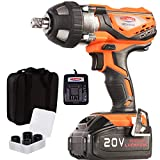 "4Ah Battery Impact Wrench 1/2"" Cordless Impact Wrench 20V Portable Compact Impact Gun with 4Pcs Sockets, Carry Bag, 4A Li-ion Battery and Fast Charger, Dobetter-DBCIW2040"