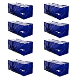 VENO Heavy Duty Extra Large Moving Bags W/ Backpack Straps Strong Handles & Zippers Compatible with IKEA Frakta Hand Cart, Storage Totes, Alternative to Moving Box, Recycled Material (Blue - Set of 8) (Kitchen)