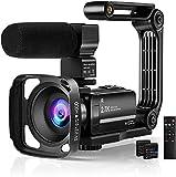 Rokurokuroku Videocamera con Microfono, FHD 1080P 30FPS Vlogging Camera Schermo IPS da 3,0' con rotazione di 270° Videocamera Webcam per YouTube con Cappuccio Stabilizzatore Telecomando 2 Batterie