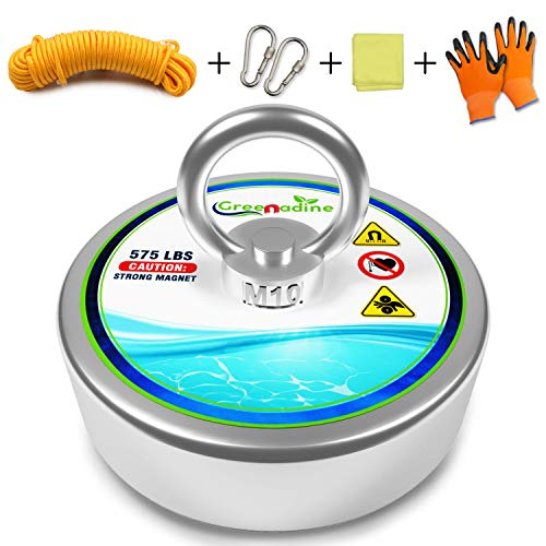 575lbs Fishing Magnets with Rope - Powerful Nylon Rope Super Magnet...