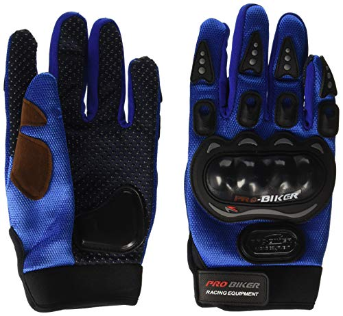 Probiker PROBL03 Leather Motorcycle Gloves (Blue, M)