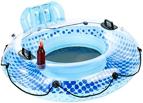infactory Schwimmring Erwachsene: Aufblasbarer Schwimmring mit Rückenlehne und Getränkehalter (Schwimmsessel)