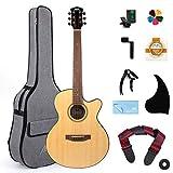 AKLOT Acoustic Guitar Full Size 38 inch Spruce Cutaway Guitar Bundle for Students Kids Beginners W/Gig Bag Tuner Strap Picks Strings Pickguard Guitar Capo String Winder