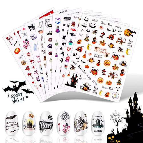 Halloween Nail Stickers Decals 9 Sheets Ghost Witch Pumpkin Self-Adhesive Nail Art Decals 3D Halloween Party Design Self-Adhesive Nail Art Decals