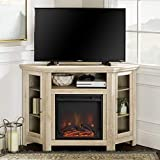 Walker Edison Furniture Company Tall Wood Corner Fireplace Stand for TV's up to 55' Flat Screen Living Room Entertainment Center, 48 Inch, White Oak