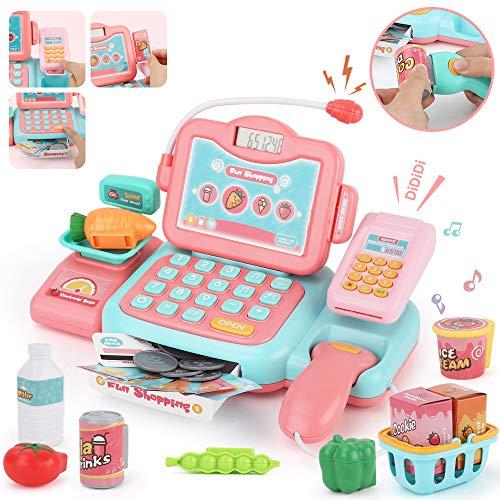 Sotodik JoyGrow Supermarktkasse Kinderspiel Elektronische Kasse Spielzeug Supermarkt Registrierkasse mit Scanner Mikrofon Rollenspiel Kaufladenzubehör für Mädchen(Rosa)