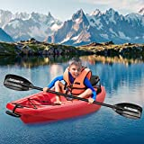 MaxKare Kids Kayak Four Seasons Red Kayak with Foldable Back Rest, Cup Holders, Front & Rear Storage Hatches, Paddle, 6 Feet, 3 footrest Positions, Ages Years 5 and up,Weight Capacity of 121 lbs