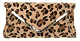 Girly Handbags Sac Leopard d'embrayage Bordure - Leopard