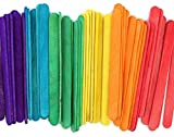 Package Includes 240 Colored Wooden Sticks Each wood sticks Measures 4 1/2-inch length 6 bright colors – red, orange, yellow, green, blue and purple. Beautiful multicolor fun wood craft sticks Vibrant Colors! Colored popsicle sticks for school suppli...