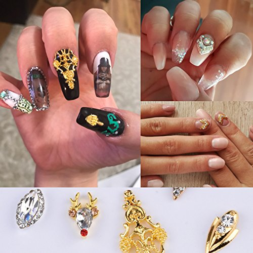 Crystal Nail Decoration Bow Elegant Flower Jewelry Silver Strass Charms Drop Reindeer Design For Nails 18pcs Assorted