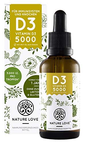 NATURE LOVE® | Vitamine D3 | Meerdere prijzen gewonnen in 2018 en 2019 | 1000 IE | Premium | Druppels (50 ml) | Vegetarisch | Hoge dosis | Gemaakt in Duitsland