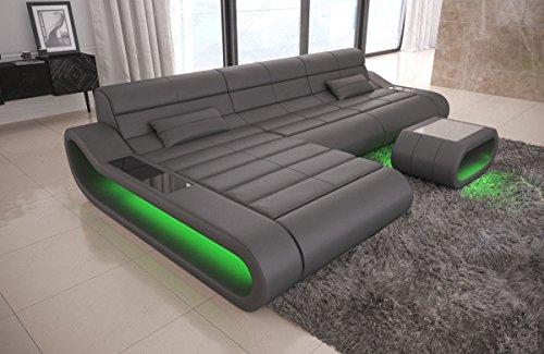 Sofa Dreams Concept L - Divano in Pelle, Colore: Grigio