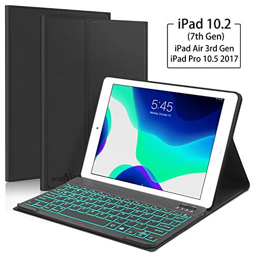 New iPad 10.2 7th Generation 2019 Keyboard Case, Boriyuan 7 Colors Backlit Detachable Keyboard Slim Leather Folio Smart Cover for iPad 10.2 Inch/iPad Air 3 10.5'(3rd Gen)/iPad Pro 10.5 inch  Black