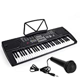 Kmise 61 Key Keyboard Piano Portable Electronic Keyboard Digital Piano w/LCD Screen,Microphone,Music Stand for Beginners