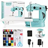 Magicfly Mini Sewing Machine with Extension Table, Dual Speed Portable Sewing Machine for Beginner with Light, Sewing Kit for Kids, Household, Blue