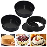 HMIN 6 Inch Round Cake Pan, Removable Bottom Cheesecake Pans, Carbon Steel Non-Stick 6 In Cake Pan Set of 3 (6 Inch)