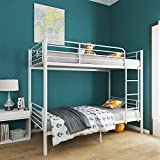 mecor Twin Over Twin Metal Bunk Bed / Sturdy Frame with Metal Slats / Safety Guard Rail & Removable Ladder / for Kids, Teens, Adults - White