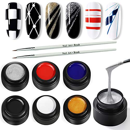 Spider Gel for Nail Art 6 Colors Drawing Gel Nail Polish Set with Painting Nail Art Brushes Soak off Nail Art Design Gel Paint Drawing Gel for Line Wire Christmas Nail Art Kit