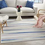 Nourison Whimsicle Distressed Striped Ivory Multicolor 6' x 9' Area Rug , 6' x 9'
