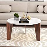 Mehar Furniture Aurora Wooden Coffee Table | Cocktail Table | Center Table for Living Room, Bedroom | White Finish