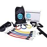 J1 Sport All-in-One Pedal Resistance Bands Set - 15 Piece Home Workout Equipment up to 180 LBS|Pedal & Sit ups Pull Exercise|Muscle Toning|Tension Rope| Strength Training | Stretching