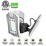 Led Garage Lights 80W, Led Garage Lighting 8000lm,E26 Garage Light, Shop Lights for Garage with 3 Adjustable Wings, Bright Garage Light Bulb for Workshop, Basement, Warehouse (No Motion Detection)
