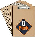 FBGC Portapapeles A4 de Masonite Calidad Profesional - Pack de 6 - Pinza Metálica Resistente y Gancho para Colgar - Tablero de madera duradero perfecto para oficina - Eco-Friendly - Acabado Satinado