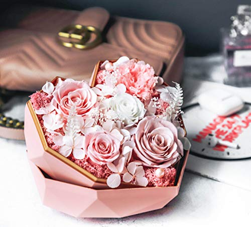 Labloom Flowers Arrangements, Preserved Everlasting Roses, Heart Shape Gift Box, Roses in Box, Gift for Women, Luxury Unique Gift for Her Birthday, Anniversary, Valentine's Day, Mother's Day (Pink)