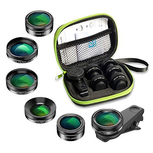 APEXEL 6 en 1 Kit de Lentes, Lente Ojo de pez 205° +Lente Ancha 140 ° y Lente Macro 25x + Filtro de Estrellas +CPL/ND para iPhone Samsung y la mayoría de los teléfonos Inteligentes