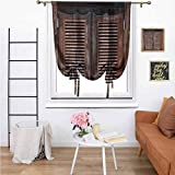 Western Tie Up Shade & Curtain, Antique Style Traditional Rustic Wild West Swinging Wooden Cowboy Bar Saloon Door Darkening Curtains for Living Room for Home, 39'x64' Dark Brown