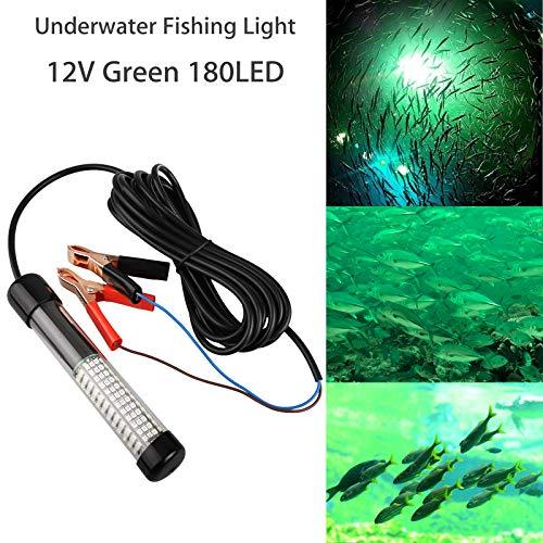 Lampada da Pesca a LED sommergibile 12V 10,5W Subacquea Crappie Light Finder Richiamo Lampada Esca IP68 Notte Notturna Pesce Che attira Luce con Cavo 5M e Clip per Batteria