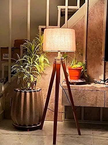 DECORVAIZ Home Decor Wood & Metal Floor Lamp ( Brown )