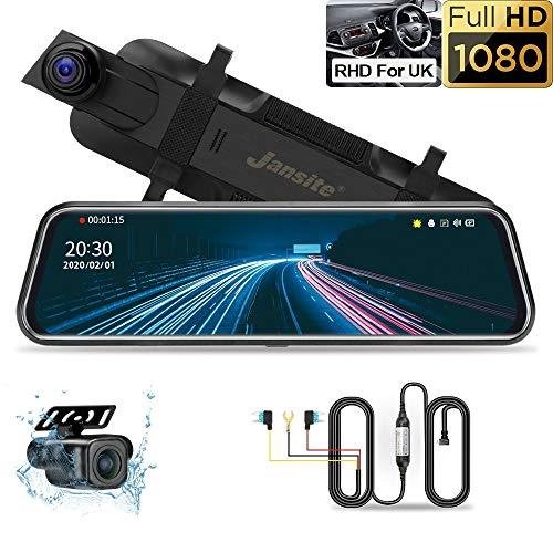 Jansite Specchio Retrovisore Auto 10'' Touchscreen con kit Hardware Monitoraggio parcheggio 24 ore su 24 Registrazione time-lapse, 1080P Dual Dash Cam posteriore e anteriore con visione notturna