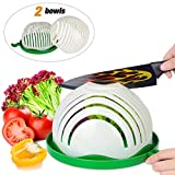 Salad Cutter Bowl,ESEOE Upgraded Vegetable Cutter Bowl for Salad in 60 Seconds,Best Vegetable Chopper Salad Maker(8 Inches)