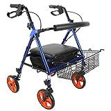 CHUNSHENN Andadores para Discapacidad, Andador de Ruedas, Ancianos discapacitados Polea Plegable Cesta Caminar Walker Compras, Azul
