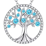 GinoMay Tree of Life Necklace Aquamarine Jewellery for Mum Wife Birthday Gifts Women Sterling Silver Halo Pendant Necklace March Birthstone
