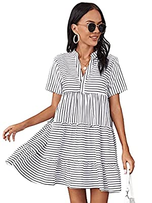 95% Polyester, 5% Elastane, Fabric has non stretch Striped print, notched neck, short sleeve, ruffle hem, swing shift dress Occasion:summer, home, outside, date, school, travel, party Machine Washable or Hand Washable Please refer to size chart in pr...