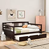 Solid Wood Daybed with A Twin Trundle, Full Size Trundle Bed Frame Multi-Functional Sofa Bed, Daybed for Kids/Guest Bedroom, No Box Spring Required, Espresso