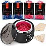 Ajoura Waxing Kit, Wax Warmer Hair Removal Kit with Hard Wax Beans for Coarse Hair Body Bikini Eyebrow Face Underarms, Wax Kit at Home for Women Men