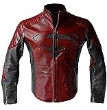 Mens Superhero S Logo Costume Motorcycle Red and Black Biker Leather Jacket (M)