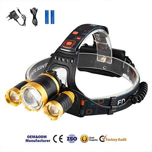 MAS MODO Headlamp Flashlight USB Rechargeable - LED Brightest High 2400 Lumen Work Headlight,IPX4 Waterproof & 18650 Flashlight with Zoomable Work Light,Head Lights for Camping, Hiking, Outdoors,Fishi