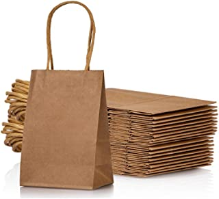 AWELL Small Kraft Paper Bag with Handle Party Favours Bag 6×4.5×2.5 inch for..