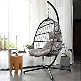 NICESOUL Indoor Outdoor Patio Wicker Hanging Chair Swing Hammock Egg Chairs UV Resistant Cushions with Aluminum Frame 350lbs Capaticy for Patio Bedroom Balcony (Grey)
