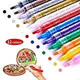 Paint Pens for Rock Painting Stone Ceramic Glass Wood Fabric Canvas Mugs Card 2 mm Fast Drying DIY Craft Making Supplies Scrapbooking Craft Acrylic Paint Marker Pens Set of 12 Colors (12 Colors)