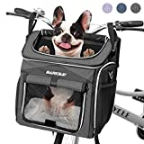Dog Bike Basket Carrier, Expandable Foldable Soft-Sided Dog Carrier, 2 Open Doors, 5 Reflective Tapes, Pet Travel Bag ,Dog Backpack Carrier Safe and Easy for Small Medium Cats and Dogs(Black)