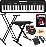 Casio Casiotone CT-S200 61-Key Portable Digital Keyboard Bundle with Adjustable Stand, Bench, Sustain Pedal, Instructional Book, Austin Bazaar Instructional DVD, and Polishing Cloth - Black